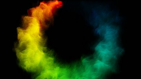 Rainbow color smoke flowing in a circle black.
