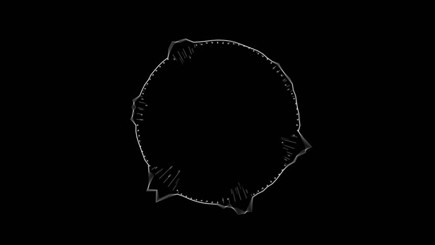 Abstract circular spinning spectral wave design ,black & white.  Aggressive vibrating spectrum circle wave form.  Audio spectrum simulation for music, computer calculating, futuristic, ads, animation.