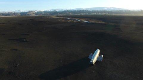 Plane wreck iceland black sand