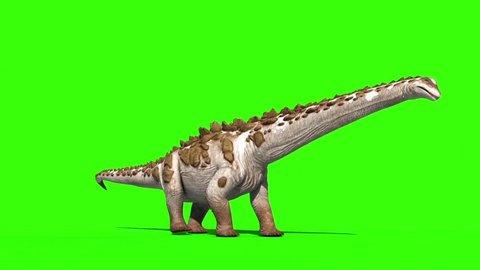 Dinosaur Titanosaur Walks Side Green Screen 3D Rendering Animation Jurassic World