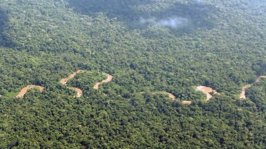 Flying over pristine tropical rainforest in the Ecuadorian Amazon
