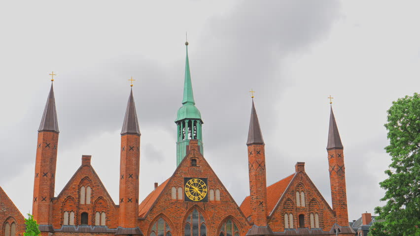 Spiers on Facade of Lubeck Dom cathedral church, Germany