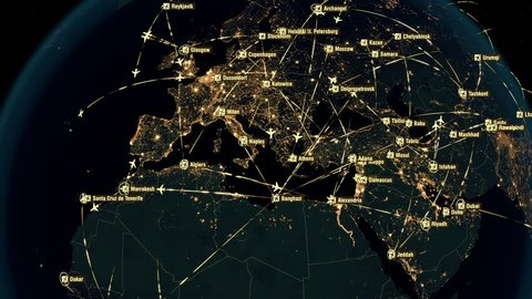 Global Communications - Destinations all over the World. North Hemisphere. Airport International Connectivity. World Airplane Flight Travel Plans Connections. The HiRes Texture of City Lights.