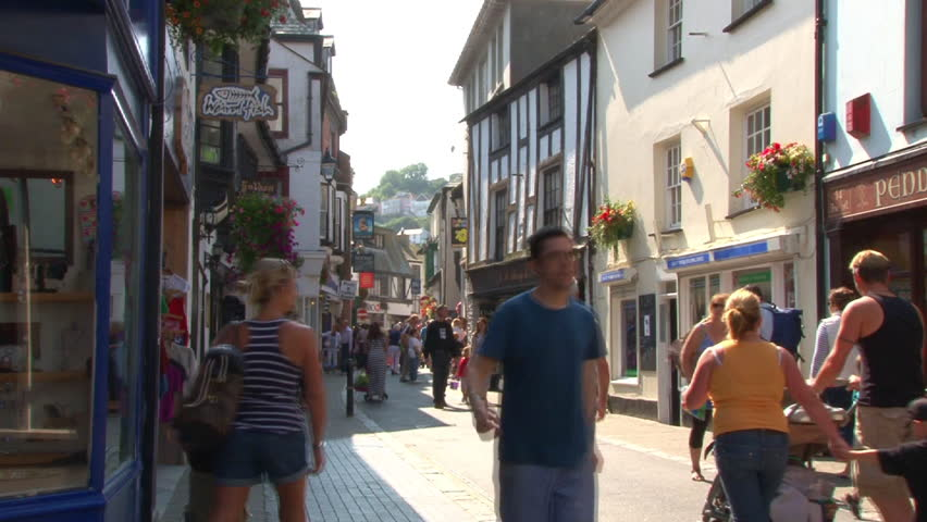 LOOE, ENGLAND - CIRCA 2011: Town centre and main shopping street of East Looe in Cornwall.