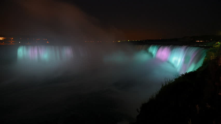 Night illumination timelapse of horseshoe Niagara falls on the Canadian side shot from table rock time lapse