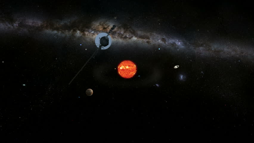 Voyager leaving the Solar System.  Sun and planets are to scale and includes the