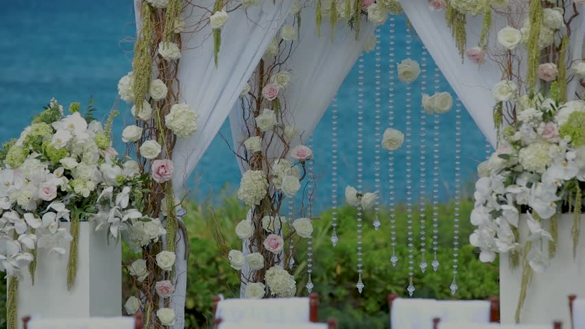 Wedding Arch Decorated With Flowers On Pier Stock Footage Video ...