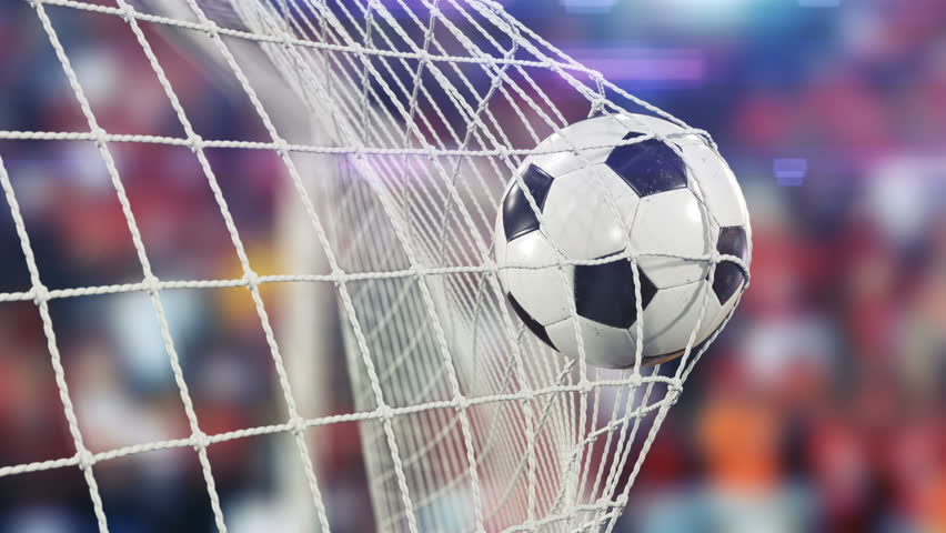 Beautiful Soccer Ball flies into Goal Net in Slow Motion. Football 3d animation of the Goal Moment. 4k Ultra HD 3840x2160. | Shutterstock HD Video #31956970