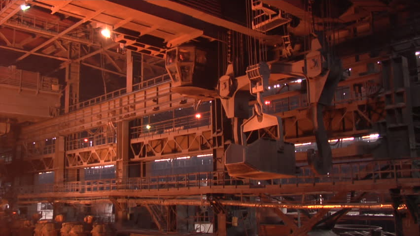 Mining and metal forging in Ukraine. Large Steel Works. Rolled metal factory.