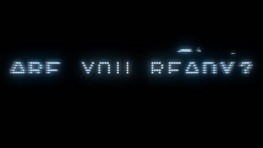 The words Are you ready?, appearing with digital noise and glitches. Dot matrix font.