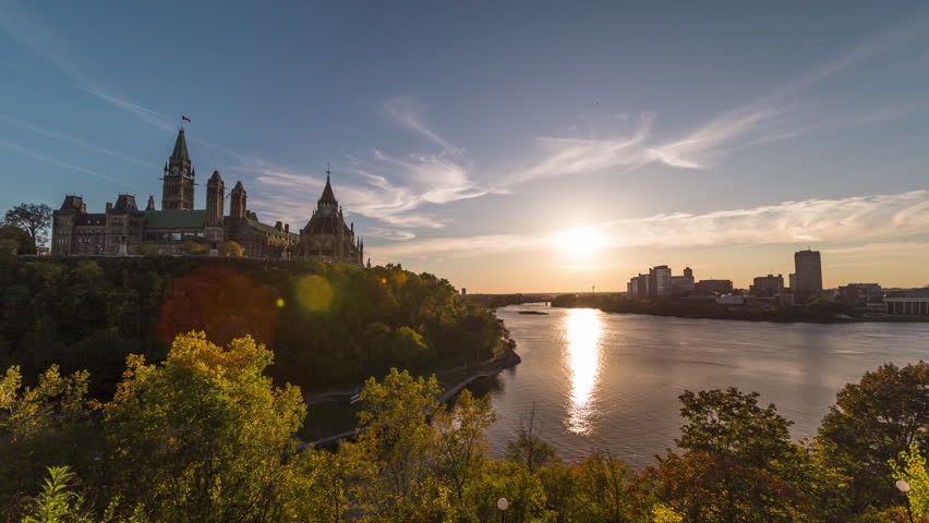 Stunning Parliament of Canada and Ottawa River Sunset Time