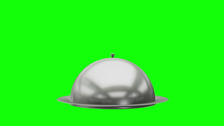 Restaurant cloche on plate open. Motion Animation. Video available in 4K FullHD and HD render footage on green screen chroma key