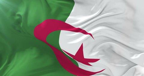 Algerian flag waving at wind with blue sky, loop