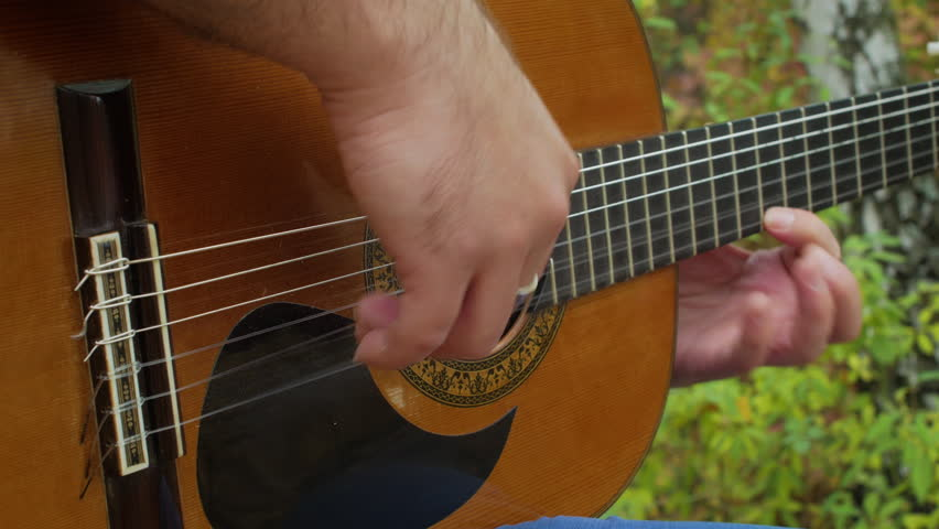 Guitar Player Makes Music At Autumn Park Outside Close Up