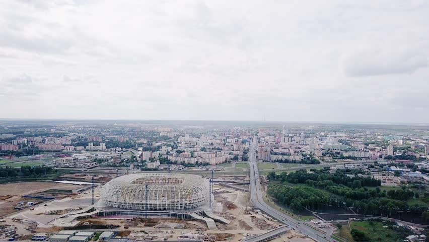 Russia, Saransk - August 25, 2017: Place of the 2018 FIFA World Cup in Russia. View of the city of Saransk, the construction of the stadium, From Dron | Shutterstock HD Video #32023030