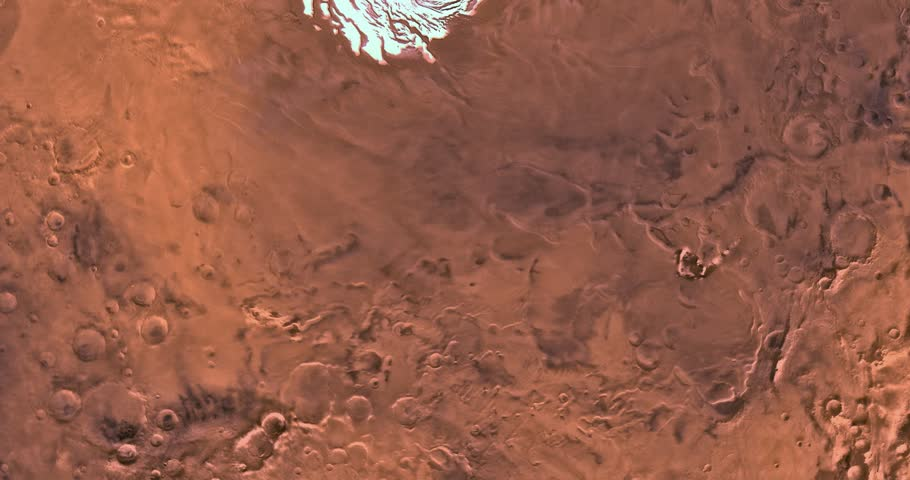 Very high altitude aerial flyover of Mars