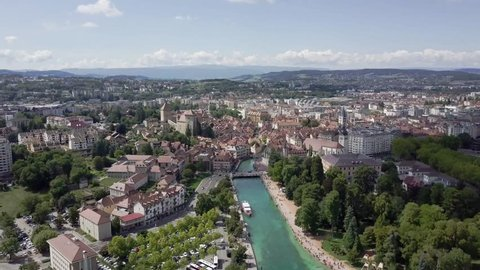 Aerial view of Annecy , French. Annecy is an alpine town in southeastern France, where Lake Annecy feeds into the Thiou River.