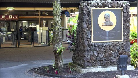 HILO - MAY 06 Monument of General Albert Kualii Brickwood Lyman in Hilo International Airport. May 06, 2017 in Hilo, Big Island, Hawaii, USA