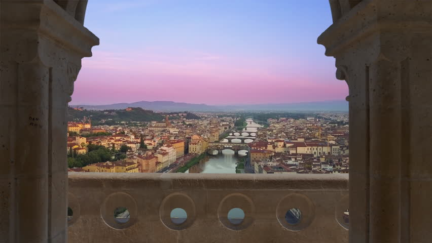 florence aerial view at sunset flying to main attractions