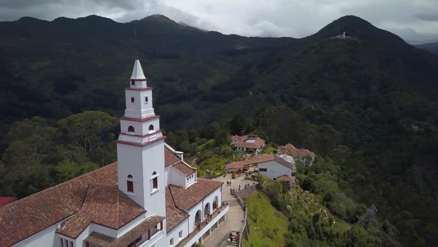 circling clockwise around Monserrate Monastery revealing view of Bogota