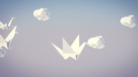A dreamlike 3d rendering of flying white paper cranes with white paper clouds in the grey background. They fly to the southern lands and emanate eternal wisdom. They look affectionate.