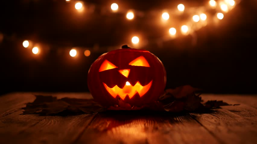 Carved Halloween Pumpkin with Lights Stock Footage Video (100%  Royalty,free) 32098450
