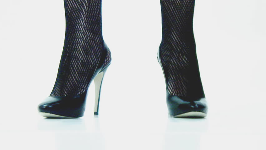 High heels and fishnets - walk in and turn