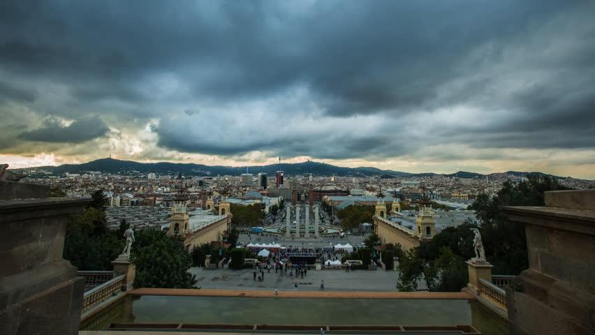 BARCELONA-OCTOBER 29: View of Plaza De Espana during day, on October 29, 2012, Barcelona, Spain