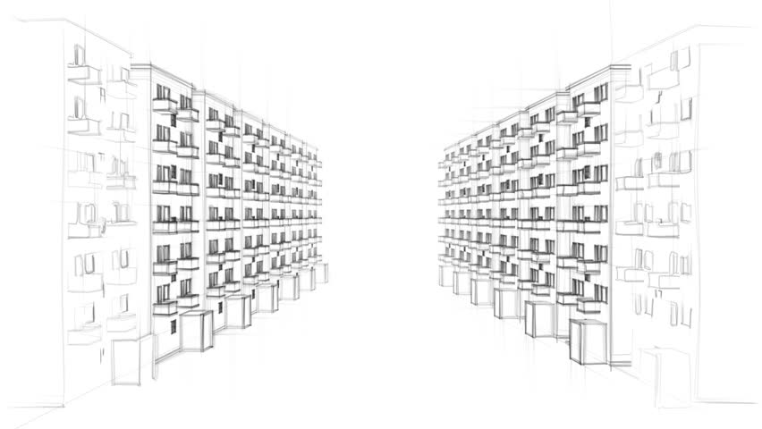 Animated Line Drawing Of A Residential Street With Many Apartment Buildings Full Hd
