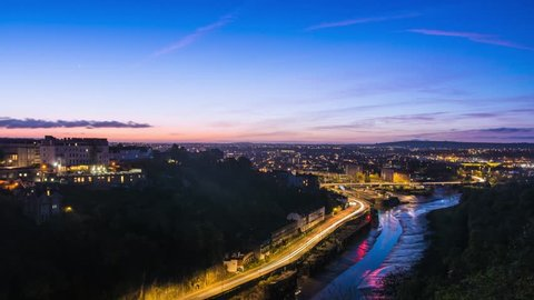 Colourful City Sunrise Time Lapse with Traffic Light Trails (Night to Day), Bristol & River Avon UK Dawn Aerial Landscape, from Clifton Suspension Bridge