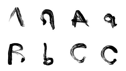 Hi-resolution, hand painted brush stroke alphabet letters A, B & C with alpha channel. Follow us to get more characters from the collection. A must have for motion graphic designers.