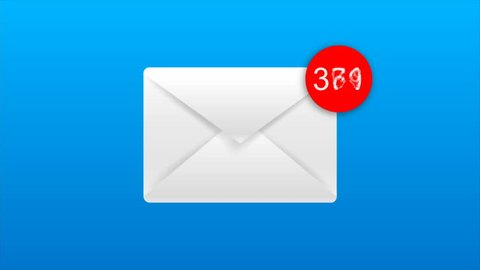 4K Animation of Email envelope with auto counting number on red circle metaphor income email and massage On blue and black background with alpha channel