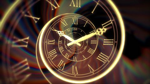 """The loop spinning of golden clock pins on a infinity deep spiral dial show a yellow roman numeral with dark color reflect in background and ready for telling about """"Time passing""""."""