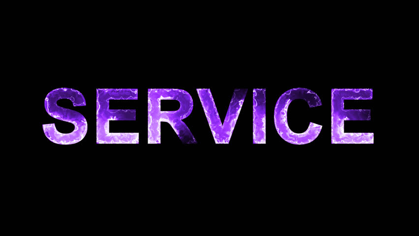 Luminous and shimmering haze inside the letters of the word SERVICE. Transparent, Alpha channel   Shutterstock HD Video #32293180