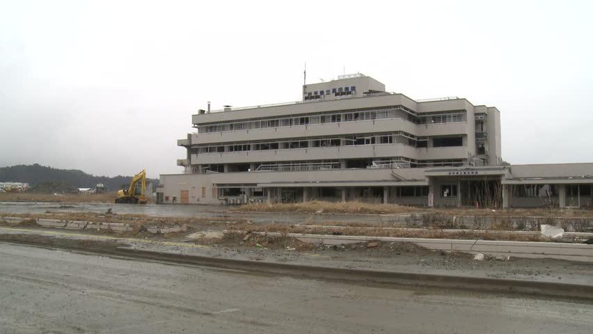 Abandoned hospital in Rikuzentakata, Japan one year after massive tsunami