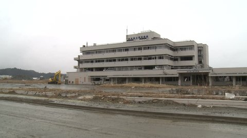 Abandoned hospital in Rikuzentakata, Japan one year after massive tsunami