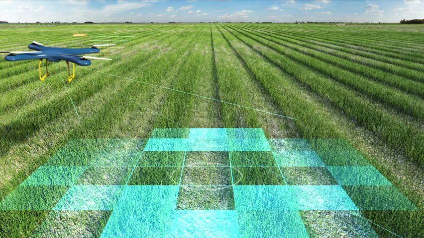 Drone scanning farm, Analyze the field, Smart agriculture, 4K size movie, internet of things. 4th industrial revolution. | Shutterstock HD Video #32335450