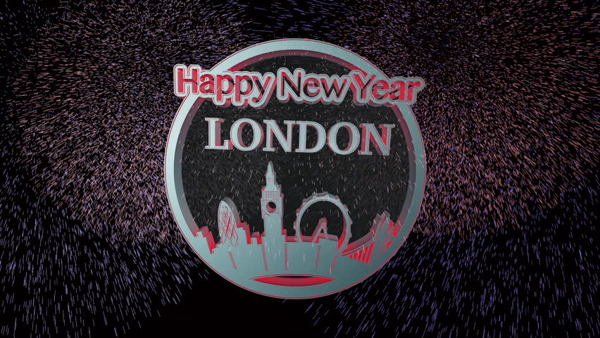 Happy New Year London 3D coin design. Fireworks at end. HD 1080p. Camera Pan then zoom out.