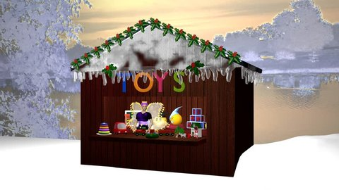 Christmas hut With little fairy, toy and burning candle. 3d animation