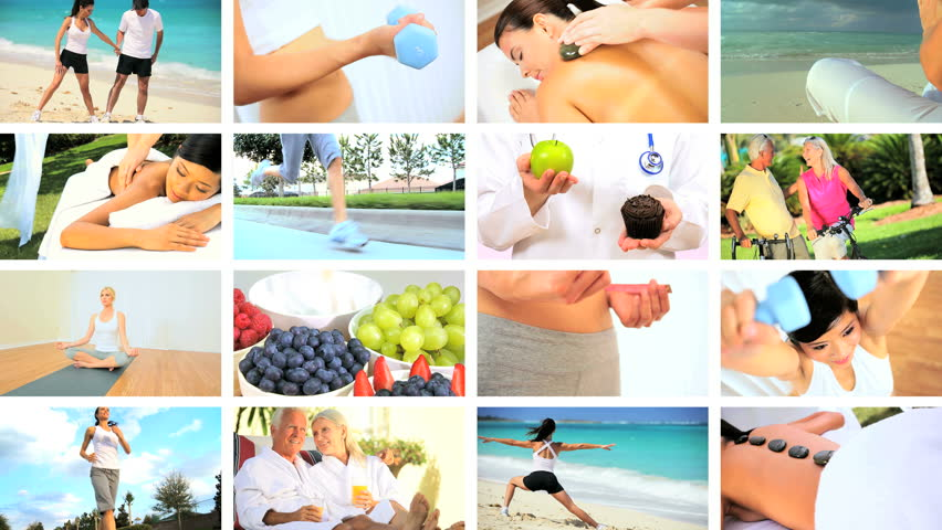 Montage images of people leading healthy lifestyles with exercise, massage, yoga & sensible eating | Shutterstock HD Video #3239413