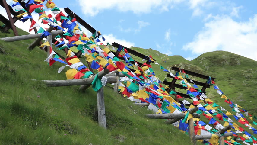 Tibetan prayer flags. Fast motion cloud movement.