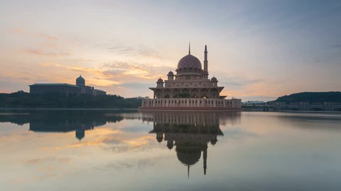 Sunrise Time Lapse at a Mosque by a lake in Putrajaya, Malaysia. Zoom In Motion Timelapse.