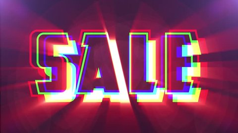 shiny colorful Sale text word jumping seamless loop light animation - new quality retro vintage motion joyful addvertisement commercial video footage