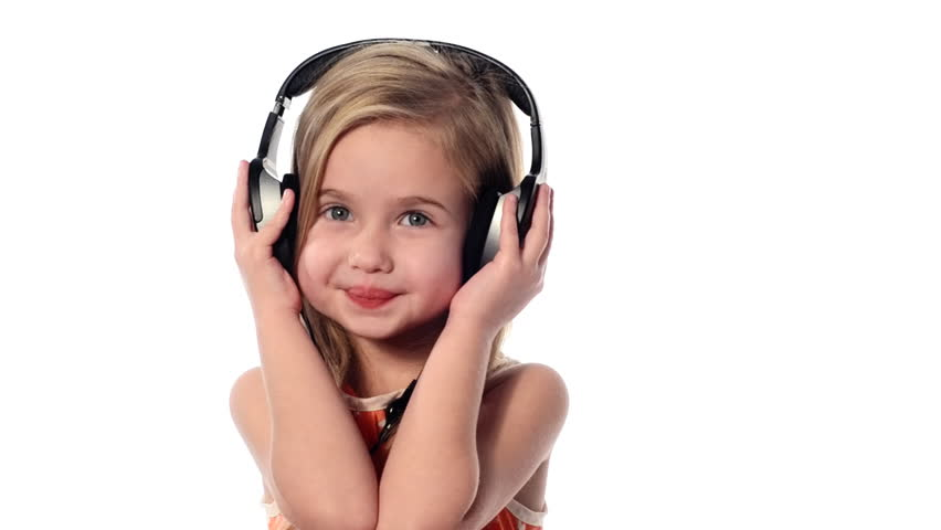 Little Girl Listening To Music Stock Footage Video 100 -8544