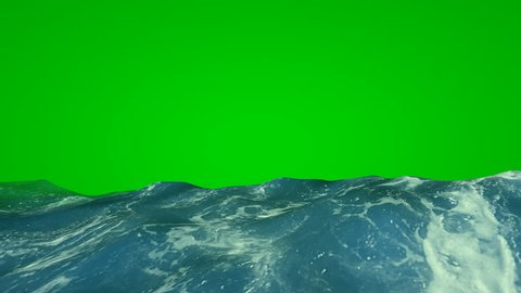 Sea on green screen. Waves and foam of the sea for video editing.