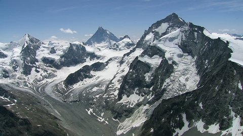 WS AERIAL Mountain landscape with glacier / Switzerland, Italy
