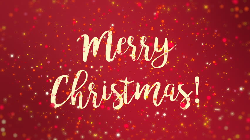 Merry christmas text with snow stock footage video 100 royalty hd0020sparkly merry christmas greeting card video animation with colorful glitter particles flickering on red background m4hsunfo