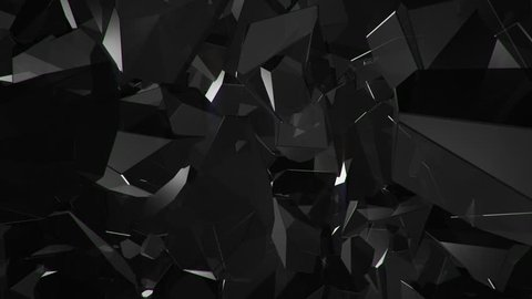 Abstract background with animation of moving and rotation glossy surface jewels, diamonds or crystals. Animation of seamless loop.