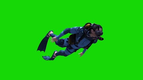 Diver Swimcycle Scuba Diving Cylinders Green Screen 3D Rendering Animation