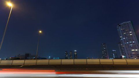 Timelapse video, traffic in city at night